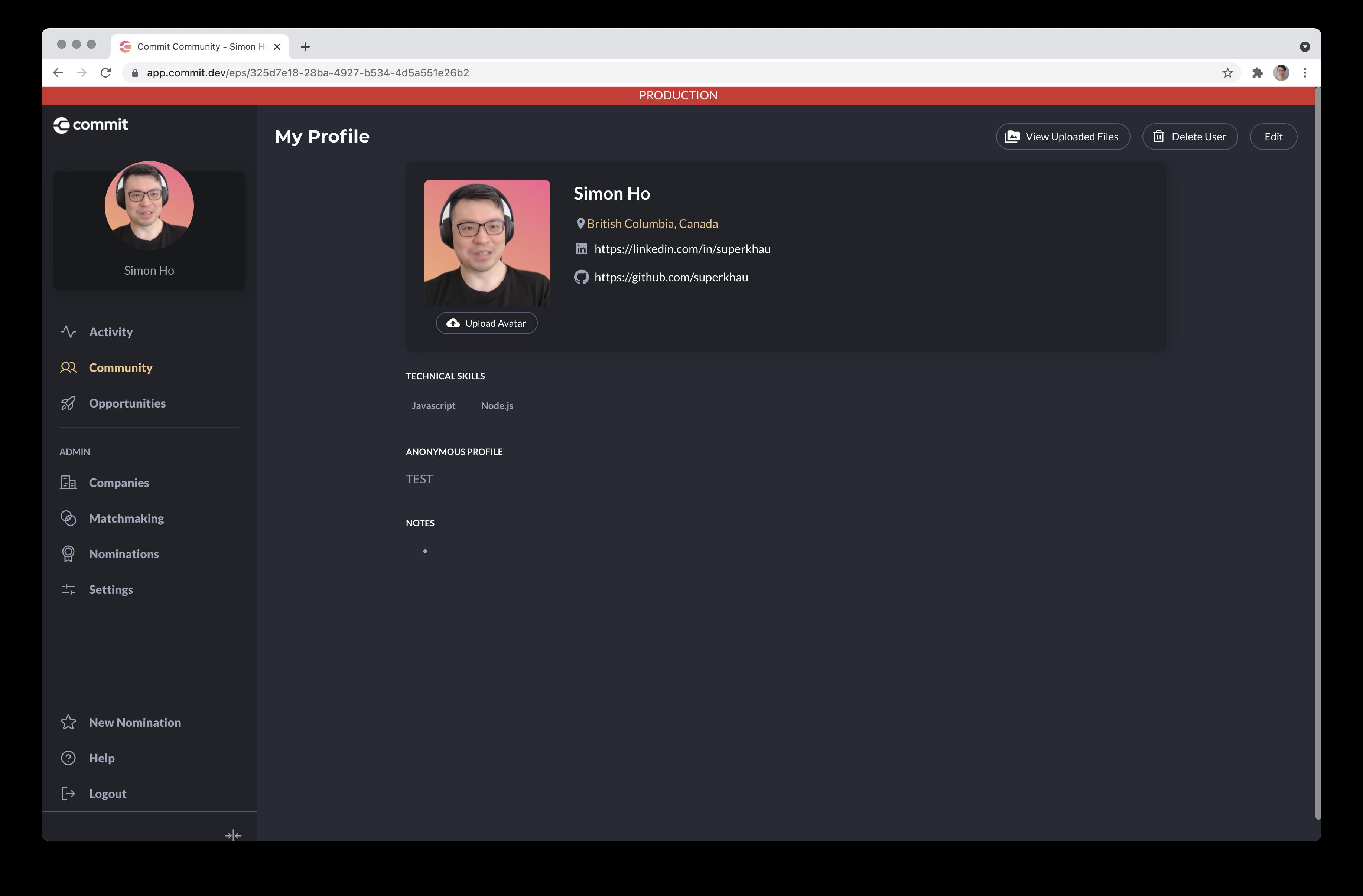 Helix Profile Page